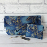 Clutch bag, butterflies, dark blue with matching coin purse.