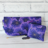 Clutch bag, purple floral, with matching coin purse.