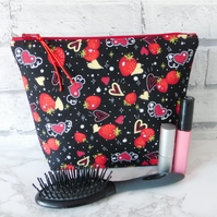 Large zipped pouch, cosmetic bag, strawberries & hearts
