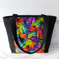 Feathers handbag, zipped.