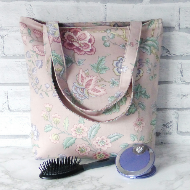 SALE Pink Floral Tote bag, shopping bag.
