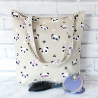Panda tote bag, shopping bag