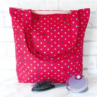Spotty Tote Bag, shopping bag,red.