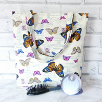 Butterfly tote bag, shopping bag
