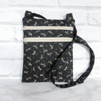 Cross body bag, double zipped, dragonflies.