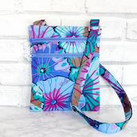 Cross body bag, double zipped, Kaffe Fassett fabric.