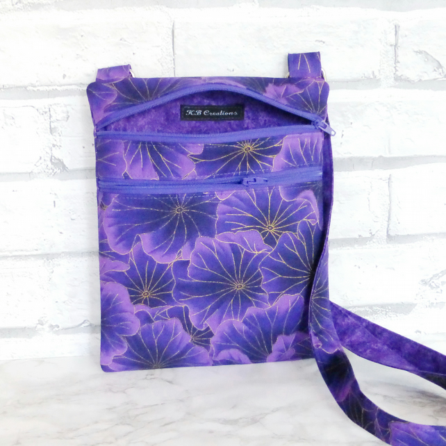 Cross body bag, double zipped, purple floral.