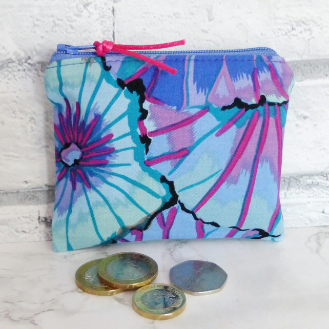 Zipped coin purse, floral.