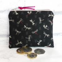 Zipped coin purse, dragonflies.
