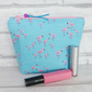 Flamingos make up bag, zipped pouch, cosmetic bag, medium size.
