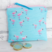 Zipped coin purse, Flamingos