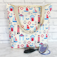 Beach Huts Tote bag, Beach bag, shopping bag.