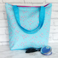 Flamingo Tote bag, Beach bag, shopping bag, blue