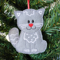 Grey Cat hanging decoration, felt.
