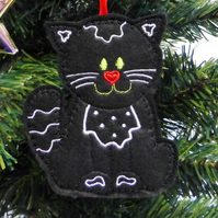 SALE Black Cat hanging decoration, felt.