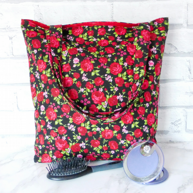 SALE:Red roses tote bag, shopping bag.