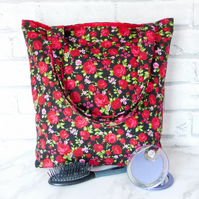 Red roses tote bag, shopping bag.