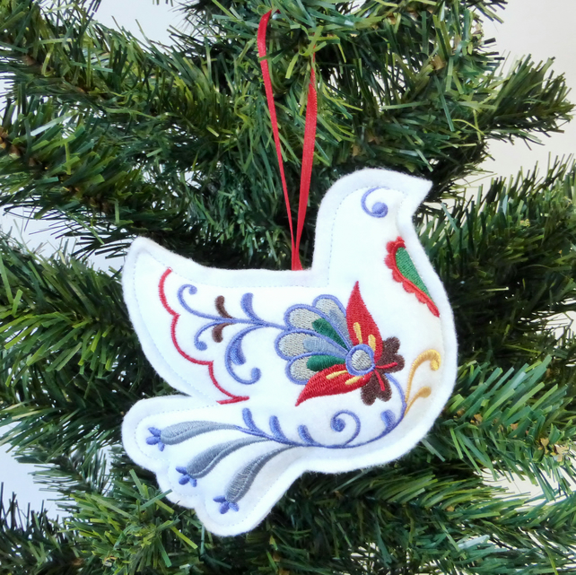 Christmas Dove decoration, embroidered