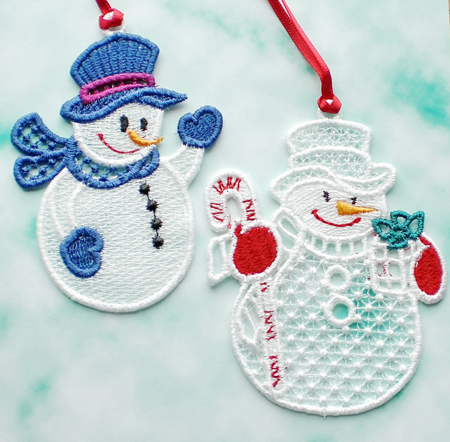 SALE Embroidered Lace snowmen, set of 2