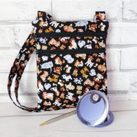 Cross body bag, dog walking bag, double zipped