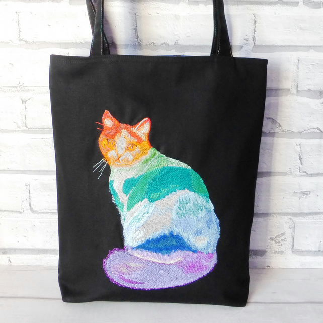 Cat Tote Bag, Embroidered