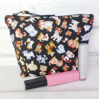 Dogs make up bag, zipped pouch, cosmetic bag,  medium size.