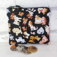 Zipped coin purse, dogs.