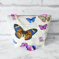 Butterflies make up bag, zipped pouch, cosmetic bag, medium size.