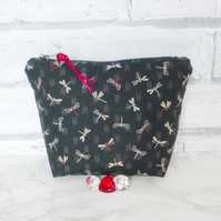 Dragonflies make up bag, zipped pouch, cosmetic bag, medium size.