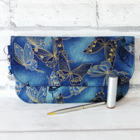 Clutch bag, butterflies, dark blue, with free matching purse.