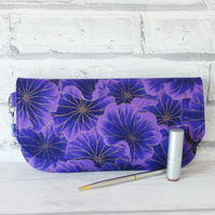 Clutch bag, purple floral.