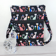 Cross body bag, cats, double zipped