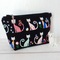 Cats make up bag, zipped pouch, cosmetic bag