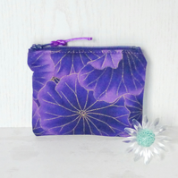 Zipped coin purse, purple floral.