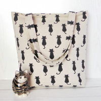 Black Cats tote bag, shopping bag