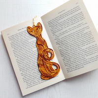 Cat Bookmark, embroidered lace