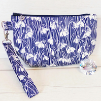 Clutch bag, snowdrops, Liberty fabric