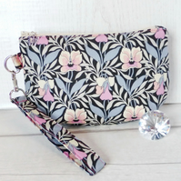 Clutch bag, pansy, Liberty fabric