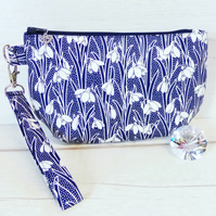 Liberty fabric clutch bag, snowdrops.