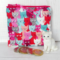 Coin purse, cats, zipped purse