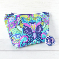 Owl make up bag, zipped pouch, cosmetic bag