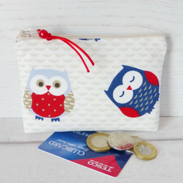 Zipped coin purse, make up bag, owls