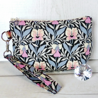Liberty fabric clutch bag, pansies