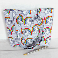 Mini tote bag, Children's bag, small bag, Unicorns & Rainbows