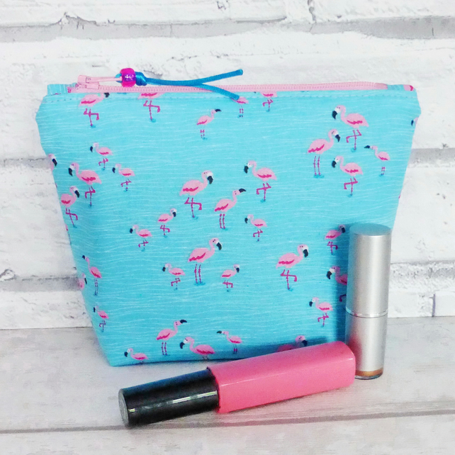 REDUCED: Flamingos make up bag, zipped pouch, cosmetic bag, medium size.