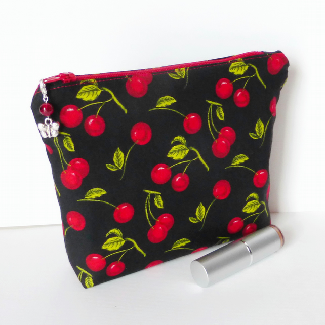 SALE Make up bag, cosmetic bag, cherries.