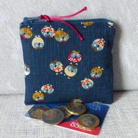 Zipped coin purse, owls.
