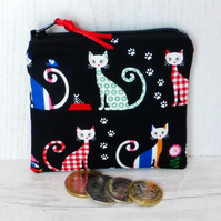 Zipped coin purse, cats.