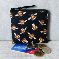 Zipped coin purse, bees