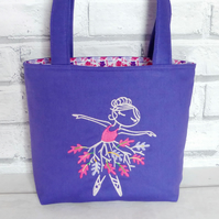 Embroidered ballerina, mini tote bag, Children's bag, small bag,